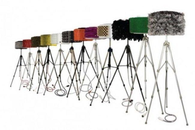 Lámpara hecha con tambores de lavadora