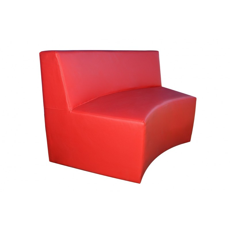 Modular Circular Two-Seater Sofa - Red Leatherette