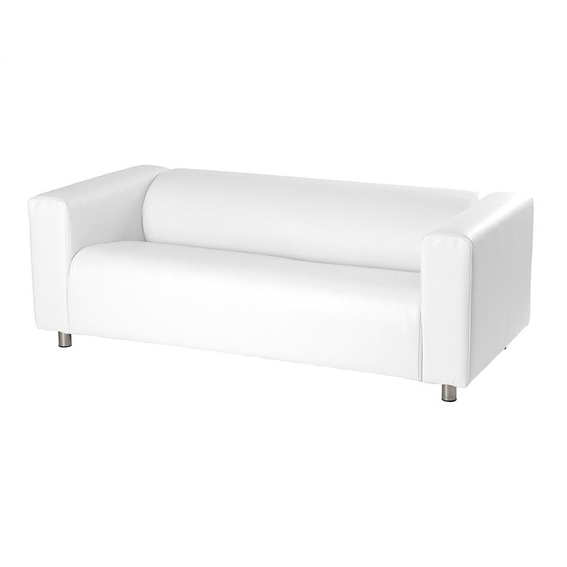 Rainbow Low Two-Seater Sofa - Leatherette White