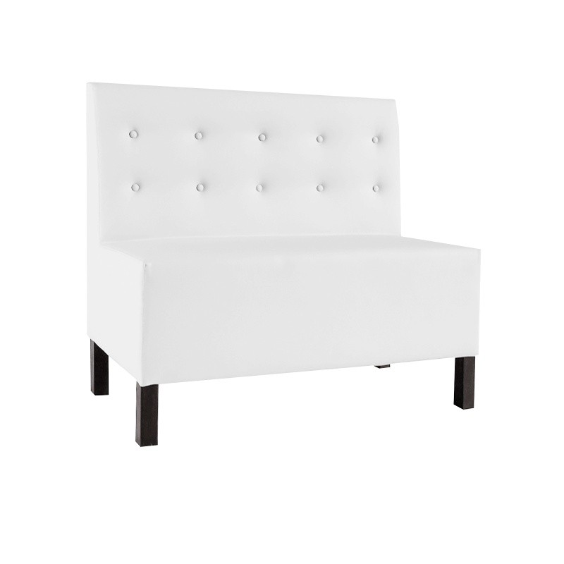 Venecia Two-Seater Buttoned Bench - Black Leatherette