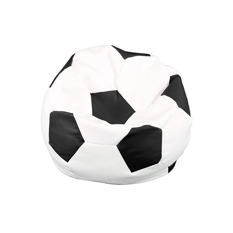 Football Ball Fiaka Pouf - Leatherette WHITE / black