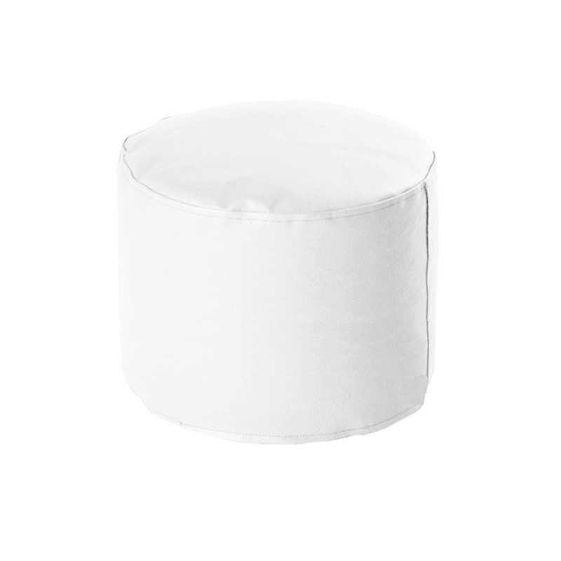 Round Soft Pouf 40/30 - Leatherette White