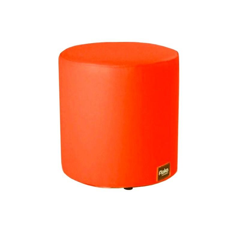 Round Rigid Pouf 40x40 - Orange Leatherette without legs