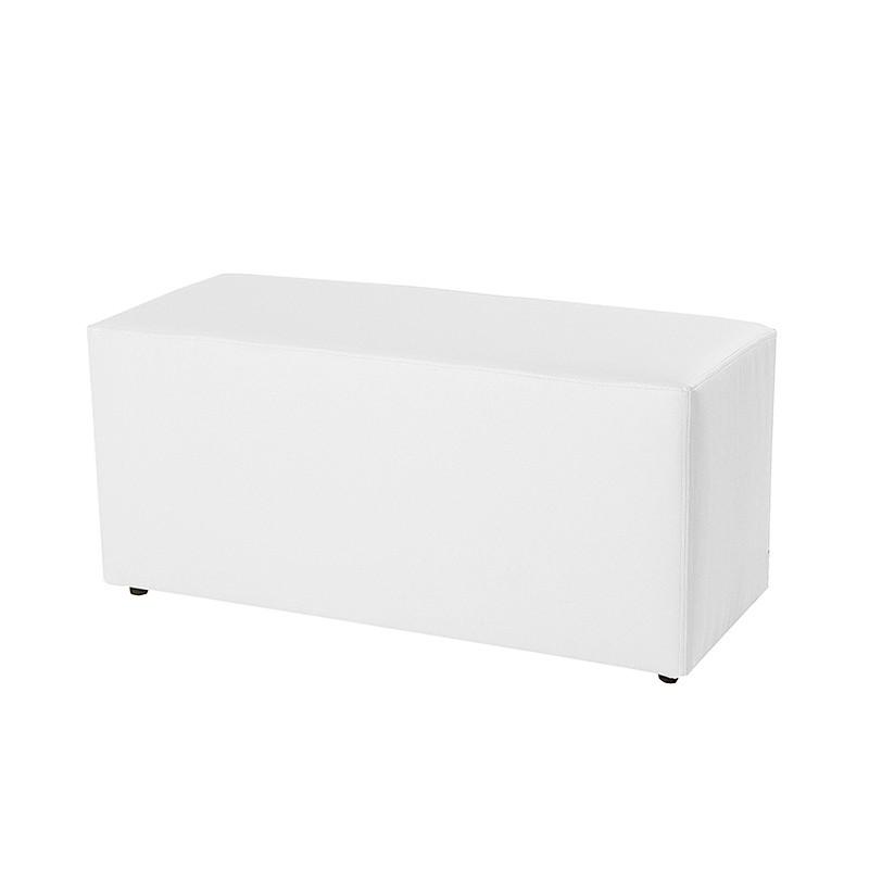 Puff Banco Rectangular 90x37 - Polipiel Sin patas Blanco 90x37x35 cm