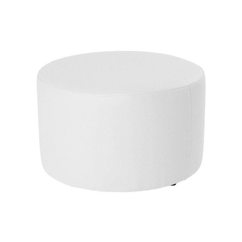 Puff Redondo Rígido 60 - Polipiel Sin patas Blanco 60x30 cm