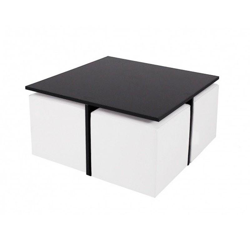 Mesa Quatro DM con cubos - Polipiel Blanco Negro