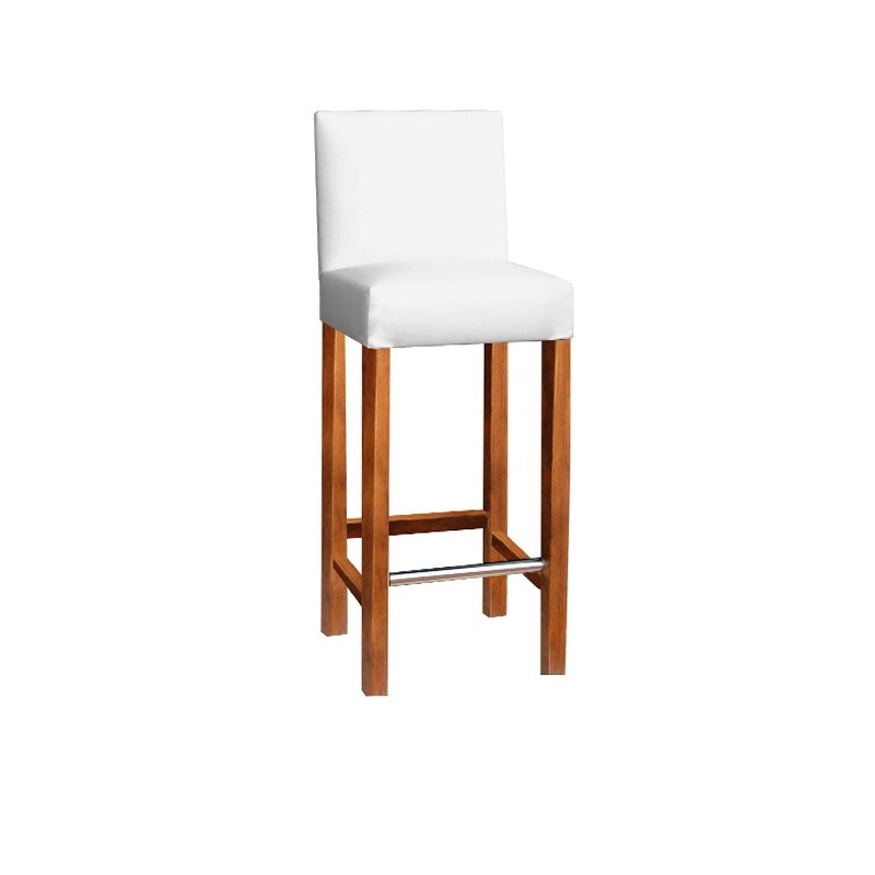Wooden Stool with Lacquered Back - Black Mahogany No Yes