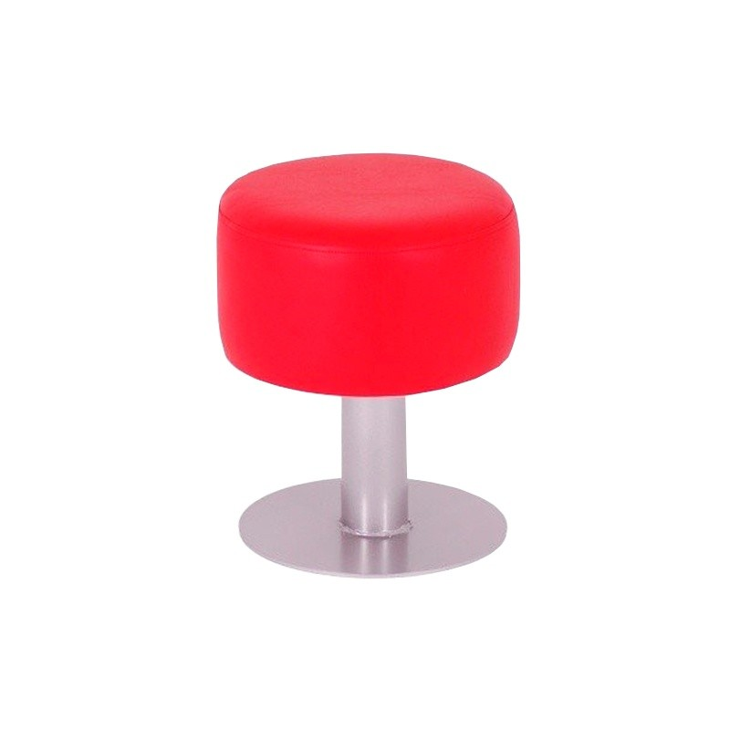 Taburete Bajo Redondo - Rojo Náutico (Poli Piel)