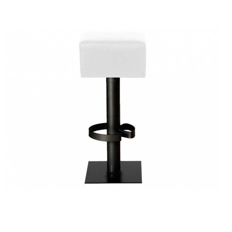 High Square Stool - Nautic (Leatherette) White