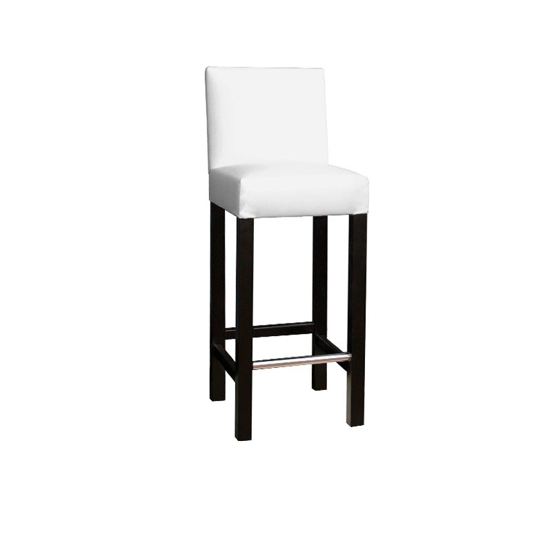 Lacquered Stool with Back - White Lacado Negro No Yes
