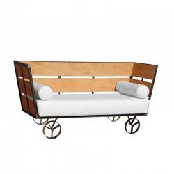 Wagon Two-Seater Sofa - Nautic (Leatherette) White