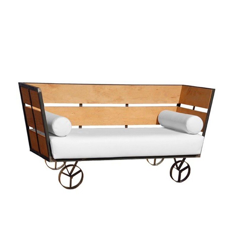 Wagon Two-Seater Sofa - Nautic (Leatherette) White