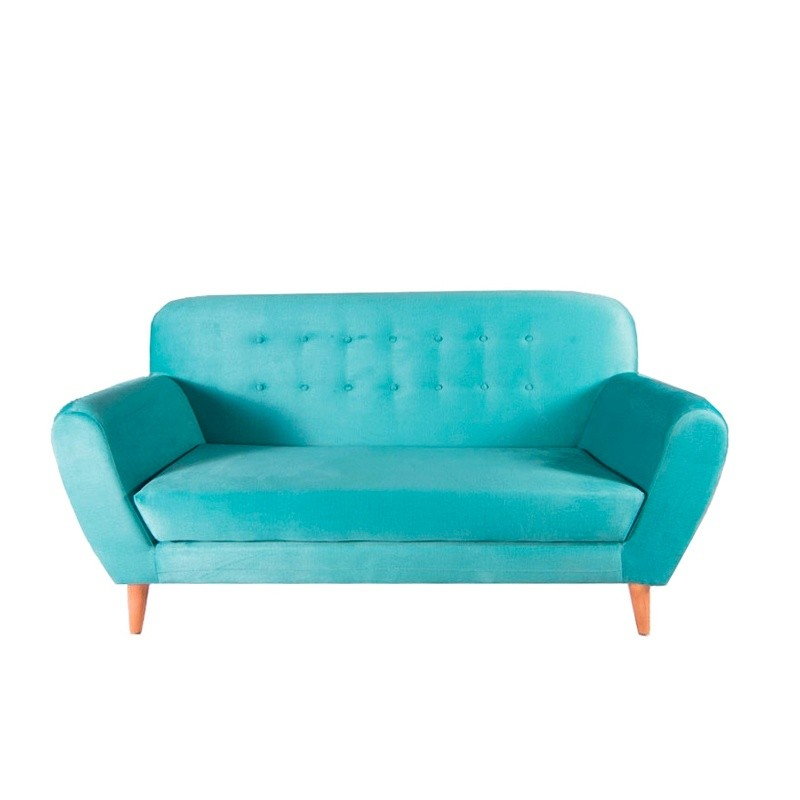 Vintage Two-Seater Sofa - Black Nautic (Leatherette)