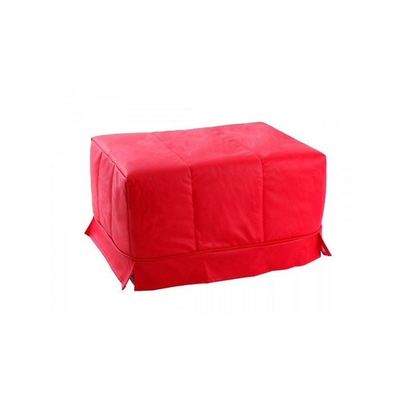 Folding Bed Pouf with Bed Base - Red Leatherette