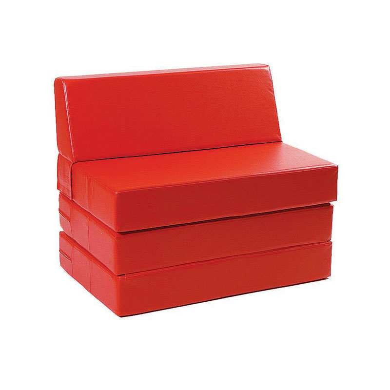 Convertible Bed Pouf - Red Leatherette 90 cm.