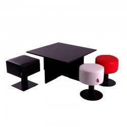 Low Square Red Stool - OUTLET