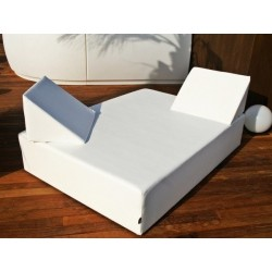 Balinese double bed without canopy - Nautic (Leatherette) White