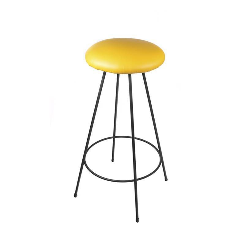 Seattle II High Round Stool - Yellow Leatherette