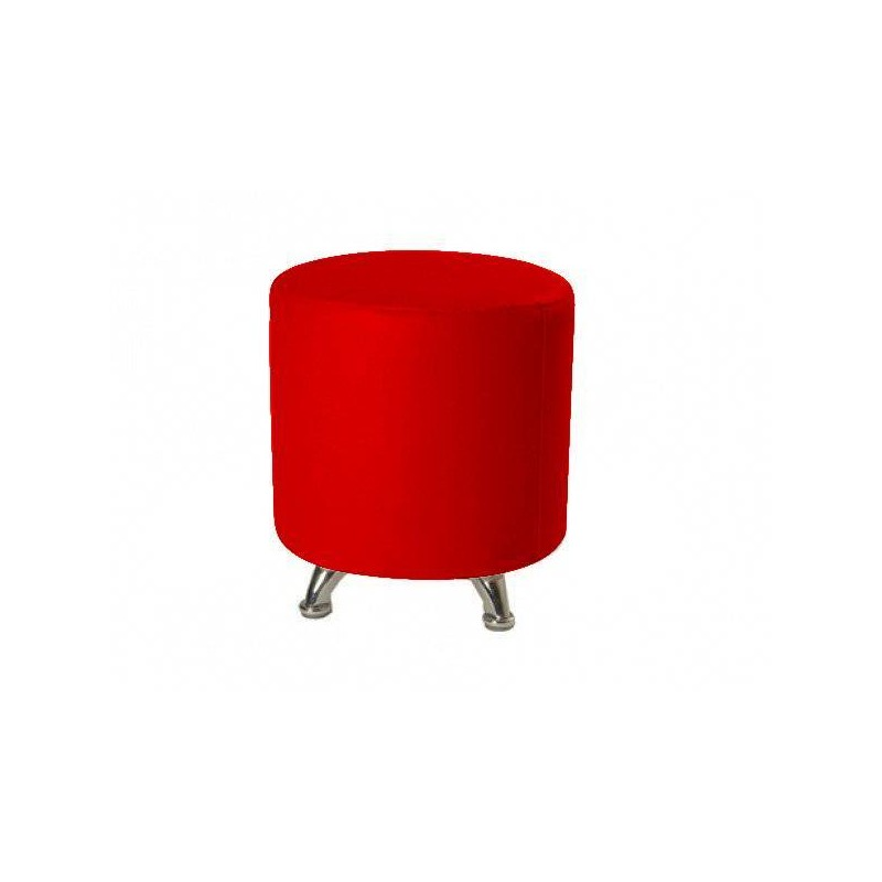 Round Rigid Pouf 40×40 - Outlet - Red Leatherette Chrome 7cm