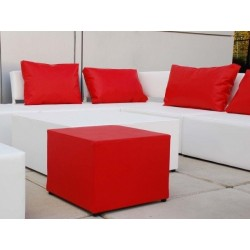 Pack 2 Rectangular Cushions - Red Leatherette