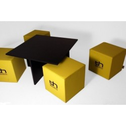 Quatro MDF table with cubes - Black Leatherette Black