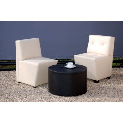 Chipre Buttoned Two-Seater Sofa - Black Leatherette