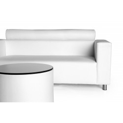 Nantes Two-Seater Sofa with Roll - Leatherette White