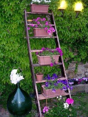 Escaleras de mano recicladas para la terraza