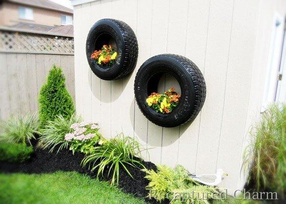 10 objetos diy y reciclados para decorar la terraza o jard n - Decoracion con ruedas ...