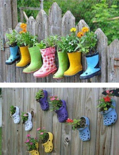 Decoración de terrazas y jardines con objetos reciclados