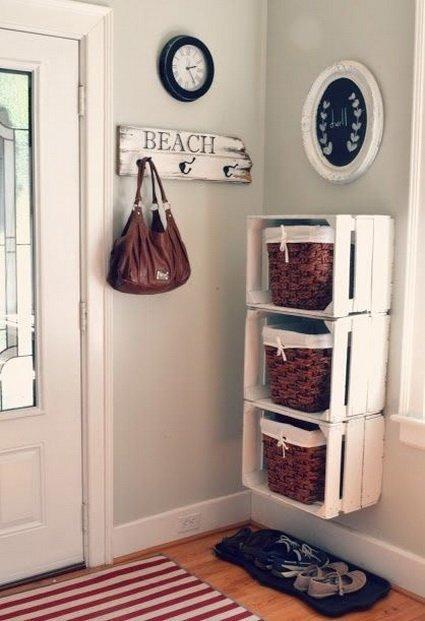 decoración con cajas de madera recicladas