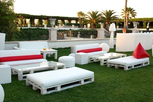 Decoraci n chill out con muebles de palets - Cojines para tumbonas ...