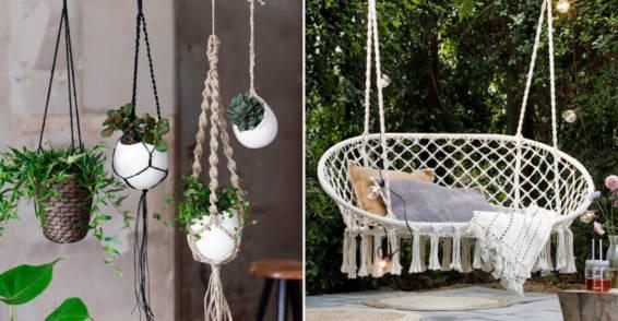 Ideas para decorar el jardín con macramé