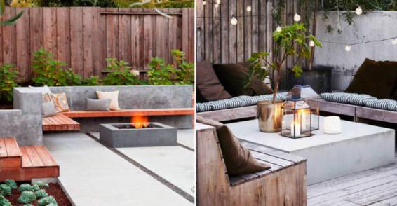 Decoración terraza 2019 elementos de cemento